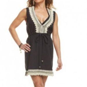 Mud Pie Marcia Jute Trim Black Cover Up Dress
